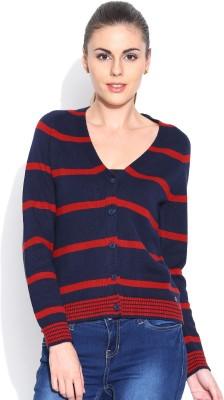 Levi's Self Design V-neck Casual Women's Dark Blue Sweater