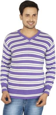 Fizzaro Striped V-neck Casual Men's Blue, White Sweater