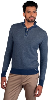 Provogue Solid Round Neck Casual Men's Blue Sweater