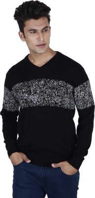 Provogue Solid V-neck Casual Mens Black Sweater