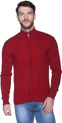 CLUB YORK Solid Round Neck Casual Men's Red Sweater