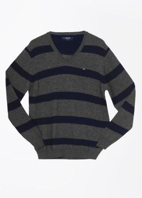 Arrow Sports Striped V-neck Casual Men's Grey, Blue Sweater