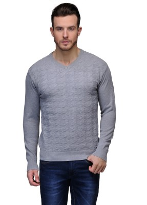 Tailor Craft Solid V-neck Casual Men's Grey Sweater