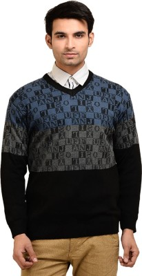Brandvilla Graphic Print V-neck Casual Men's Multicolor Sweater