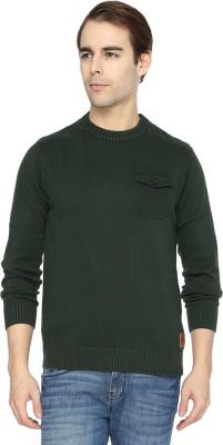 Wrangler Solid Round Neck Casual Men's Dark Green Sweater