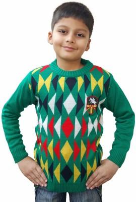 Brandonn Checkered Round Neck Formal Girls Green Sweater