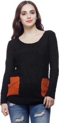 Lioness Solid Round Neck Party Women's Black Sweater