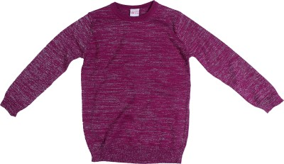 FS Mini Klub Solid Round Neck Girl's Pink Sweater