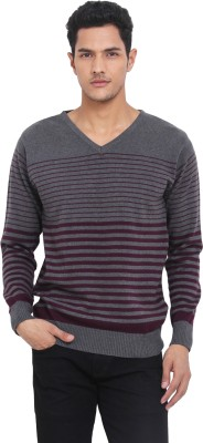 Northern Lights Striped V-neck Casual Men's Grey, Maroon Sweater