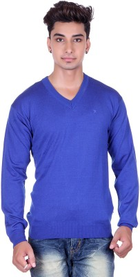 Pierre Carlo Solid V-neck Casual Men's Blue Sweater