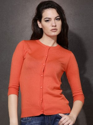Roadster Solid Round Neck Casual Women's Orange Sweater