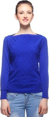 Fasnoya Woven Round Neck Casual Women's Blue Sweater