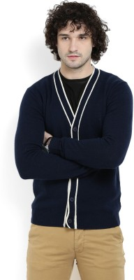 Gant Solid V-neck Casual Mens Dark Blue Sweater