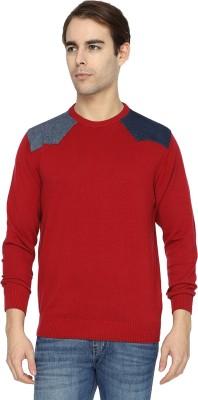 Wrangler Applique Round Neck Casual Men's Red Sweater