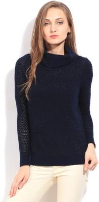 Arrow Self Design Casual Women's Dark Blue Sweater