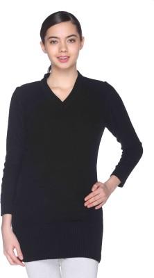 CLUB YORK Self Design V-neck Casual Women's Black Sweater