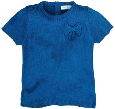 Snuggles Solid Round Neck Baby Girl's Blue Sweater