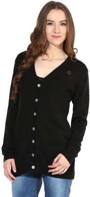 The Vanca Solid V-neck Casual Women's Black Sweater