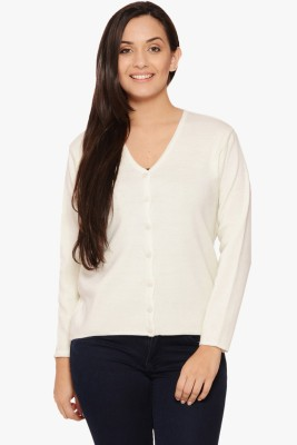 Fugue Solid V-neck Casual Women's White Sweater