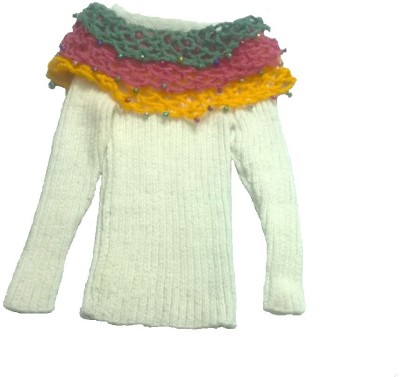 A T Exclusive Designs Woven Round Neck Party Baby Girl's Reversible White, Multicolor Sweater