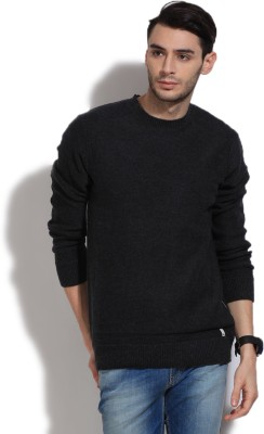 Quiksilver Solid Round Neck Casual Men,s Black, Grey Sweater