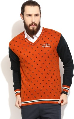 COBB Printed V-neck Casual Men's Red Sweater