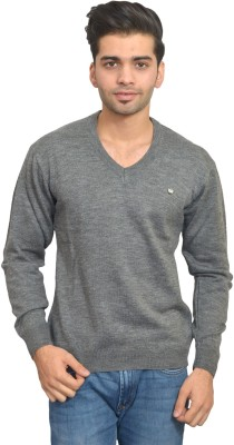 Ossell Solid V-neck Men,s Grey Sweater