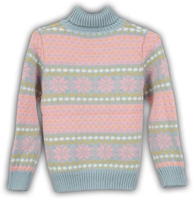 Lilliput Self Design Turtle Neck Casual Girl's Multicolor Sweater