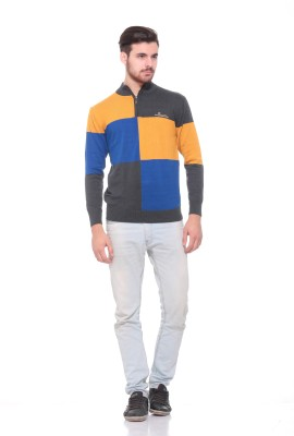 Pro Riders Striped Turtle Neck Casual Men's Grey, Blue, Yellow Sweater