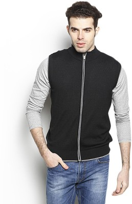 Blackberrys Solid Round Neck Party Men Black Sweater