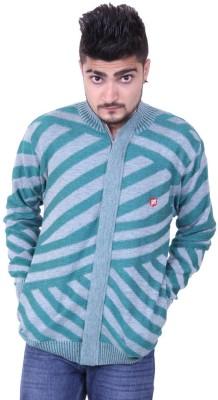 Austrich Striped Round Neck Casual Men's Green Sweater