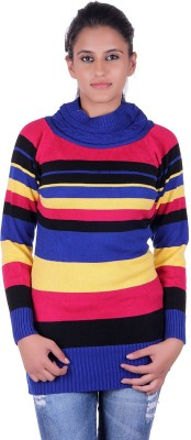 eCools Striped Turtle Neck Party Women's Multicolor Sweater