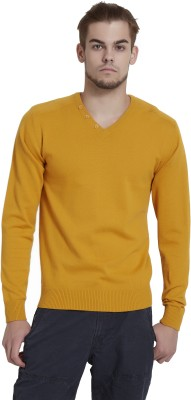 Breakbounce Solid V-neck Casual Men,s Yellow Sweater