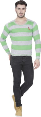 Alay Striped V-neck Casual, Party, Formal, Sports, Festive, Lounge Wear Men's Light Green Sweater