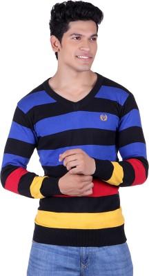 Ogarti Solid, Striped V-neck Casual Men,s Multicolor Sweater