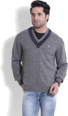 John Players Self Design V-neck Casual Men's Grey Sweater