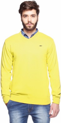 Aeroglide Solid V-neck Casual Men's Yellow Sweater