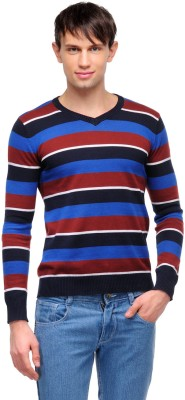 Yepme Striped V-neck Casual Men,s Blue, Red Sweater