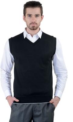 Gdivine Solid V-neck Casual, Formal Men's Black Sweater