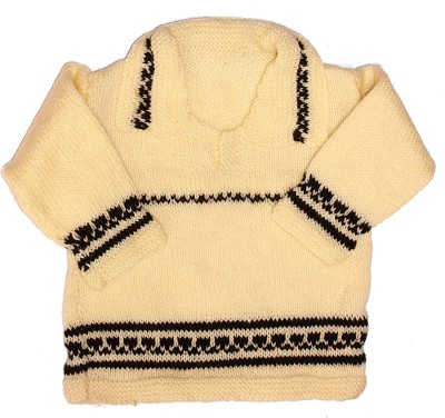 Babeezworld Self Design Round Neck Casual Baby Girls Reversible Yellow Sweater