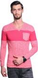 Tsavo Self Design V-neck Casual Men Pink...