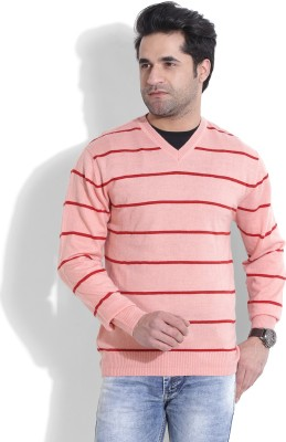 John Players Striped V-neck Casual Men's Red, Pink Sweater