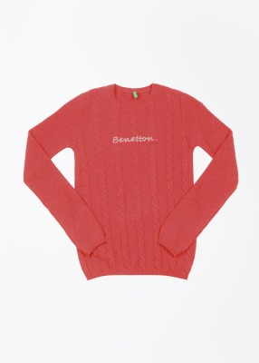 United Colors of Benetton Self Design Round Neck Casual Girl's Red Sweater