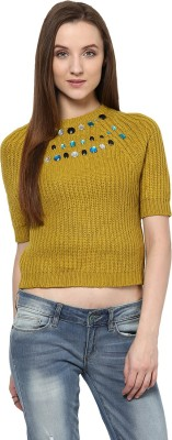 Yepme Solid Round Neck Casual Women's Green Sweater