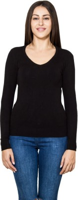 Lee Marc Solid Round Neck Casual Women's Black Sweater