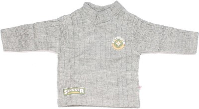 Babiano Solid Round Neck Baby Boy's Grey Sweater