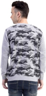 CLUB AVIS USA Printed Round Neck Casual Men's Grey Sweater
