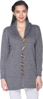 CLUB YORK Self Design Turtle Neck Casual Women's Grey Sweater