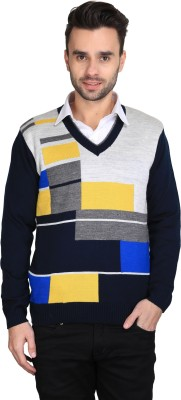 BRAVEZI Self Design V-neck Casual Men,s Blue, Silver, Yellow Sweater