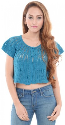 Estance Solid Round Neck Casual Women's Blue Sweater